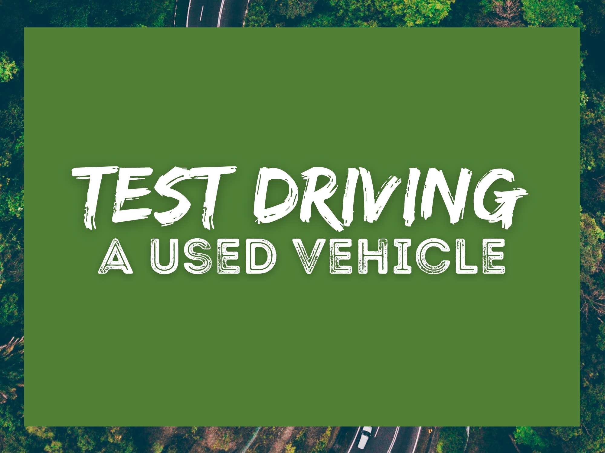 """Green background with forest and road border with words """"Test Driving"""" a vehicle with white font in the center"""