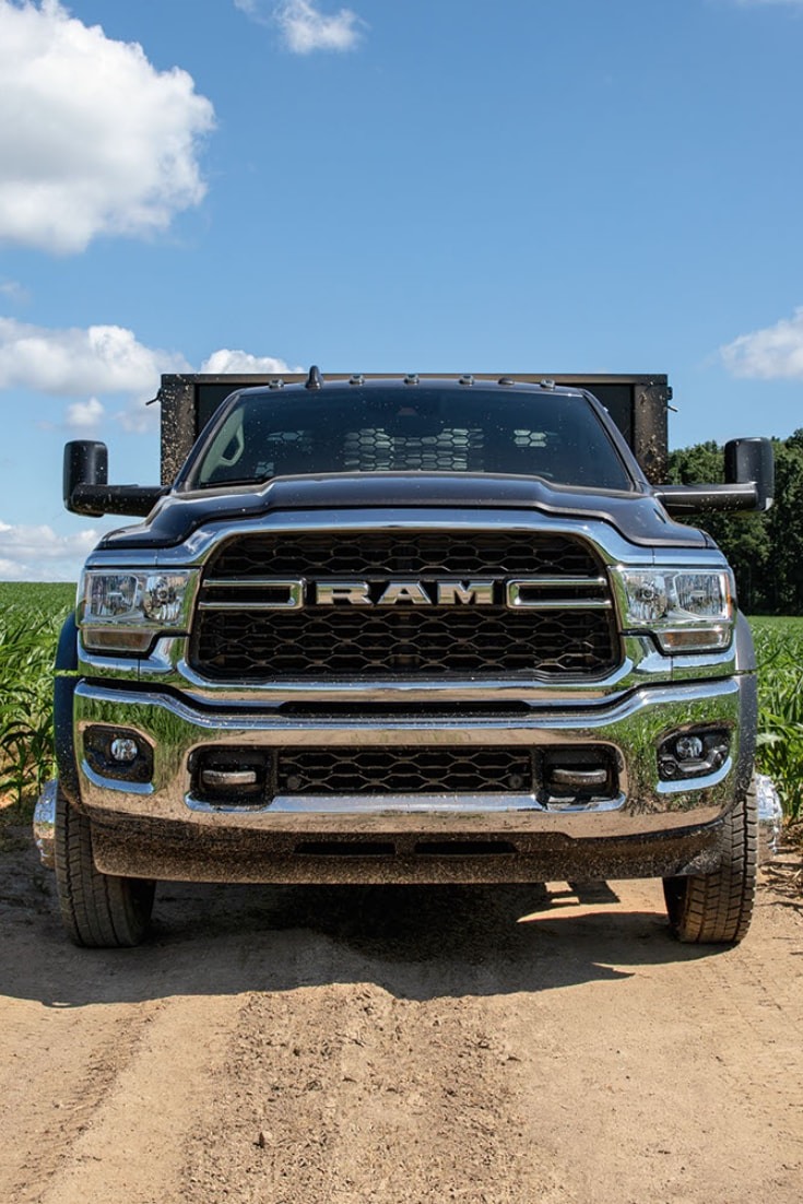 Front View of Ram truck in Field