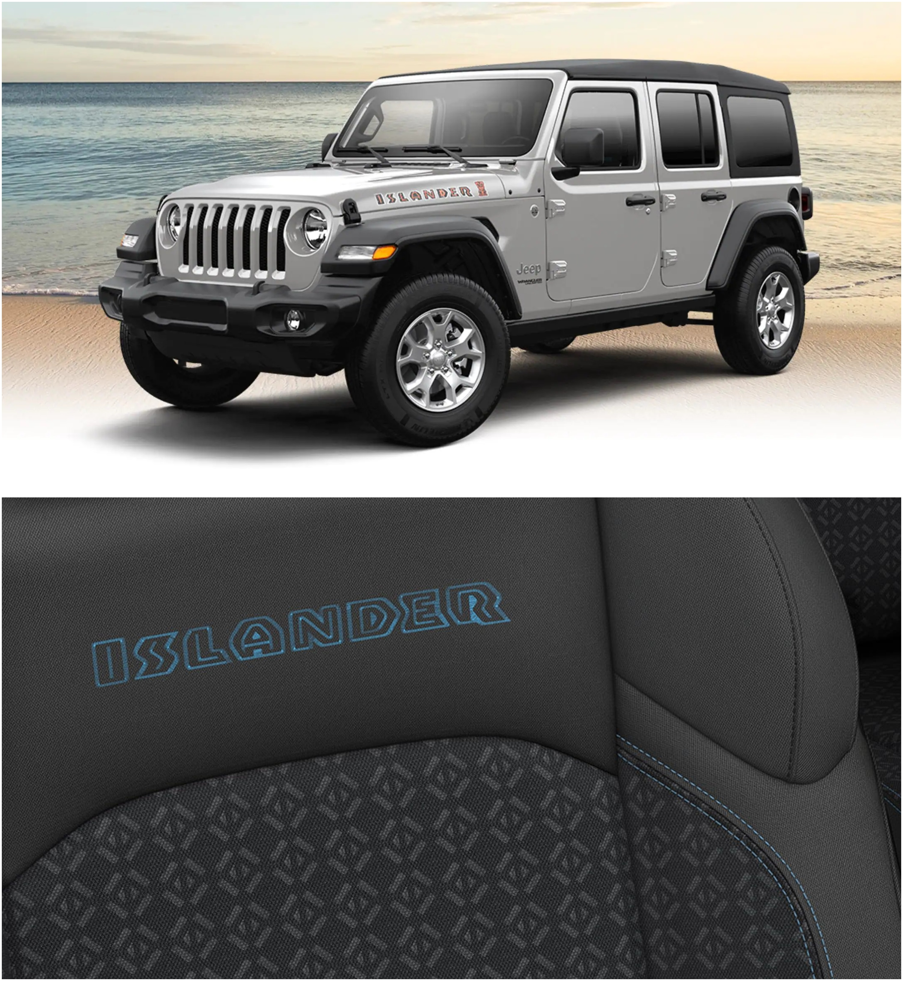 """Top Photo: Front 3/4 View of Silver Jeep Wrangler Islander ; Bottom Photo: Close-up of Blue """"Islander"""" stitching on seat of Jeep"""