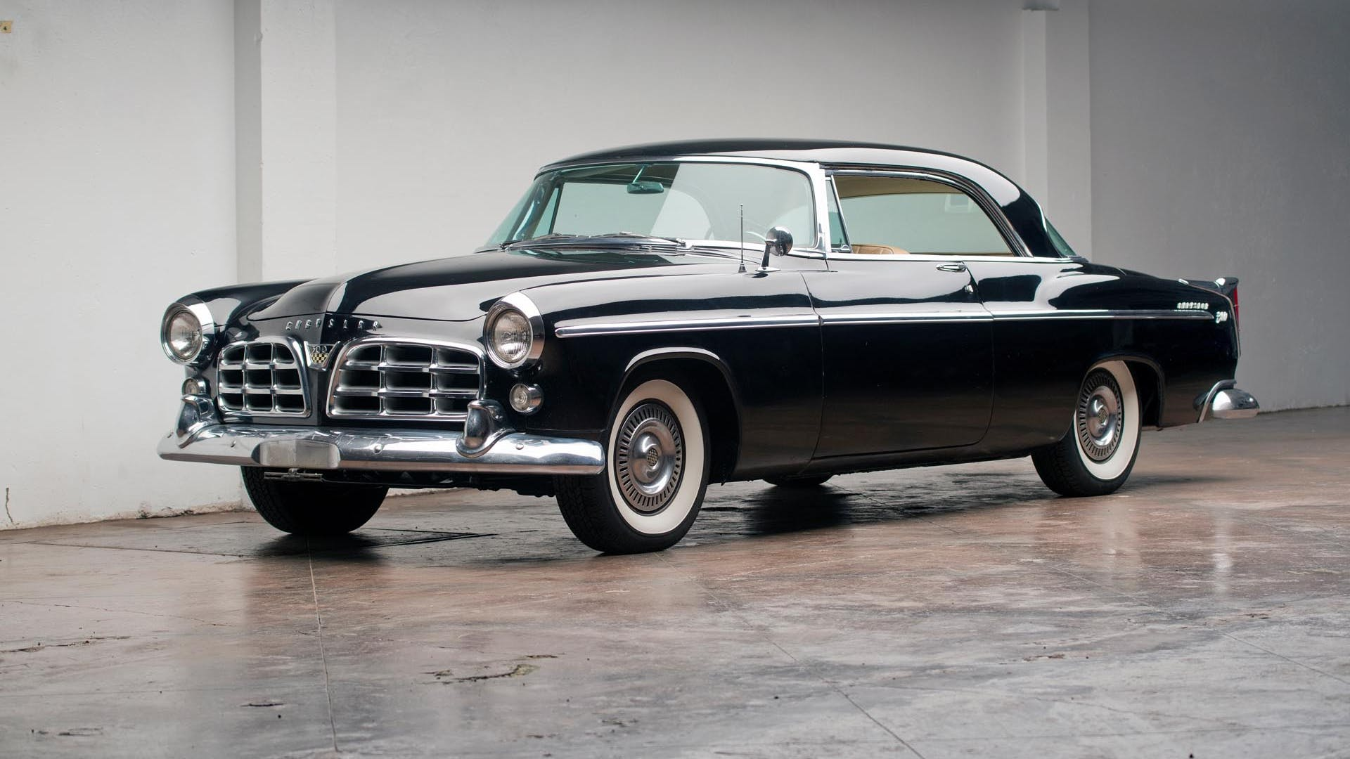 1955 Chrysler 300 in Black front 3/4 View