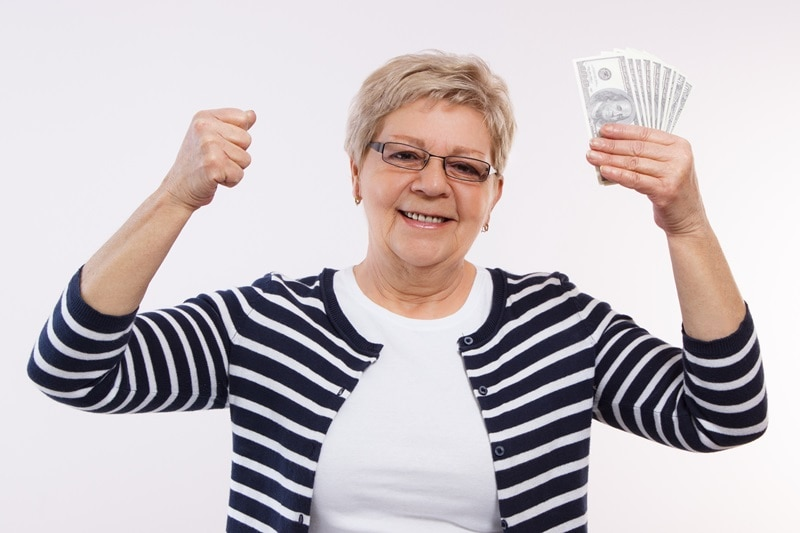 Happy woman who received money reward