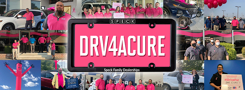 Collage of Speck Family Dealerships' employees and customers supporting Breast Cancer Awareness and the Drive for a Cure Event