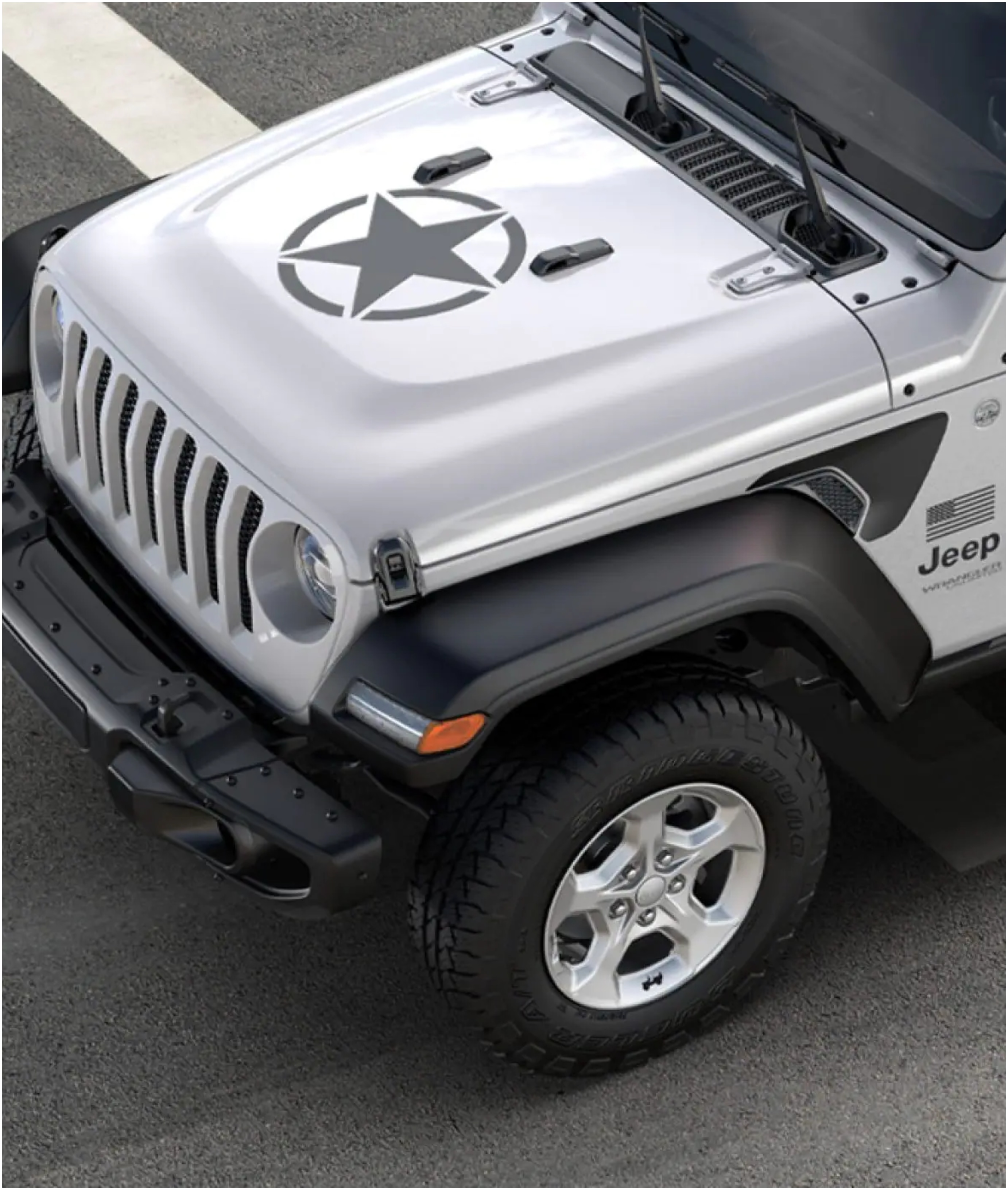 Close-Up of Jeep Wrangler Freedom Edition Hood with black star decal