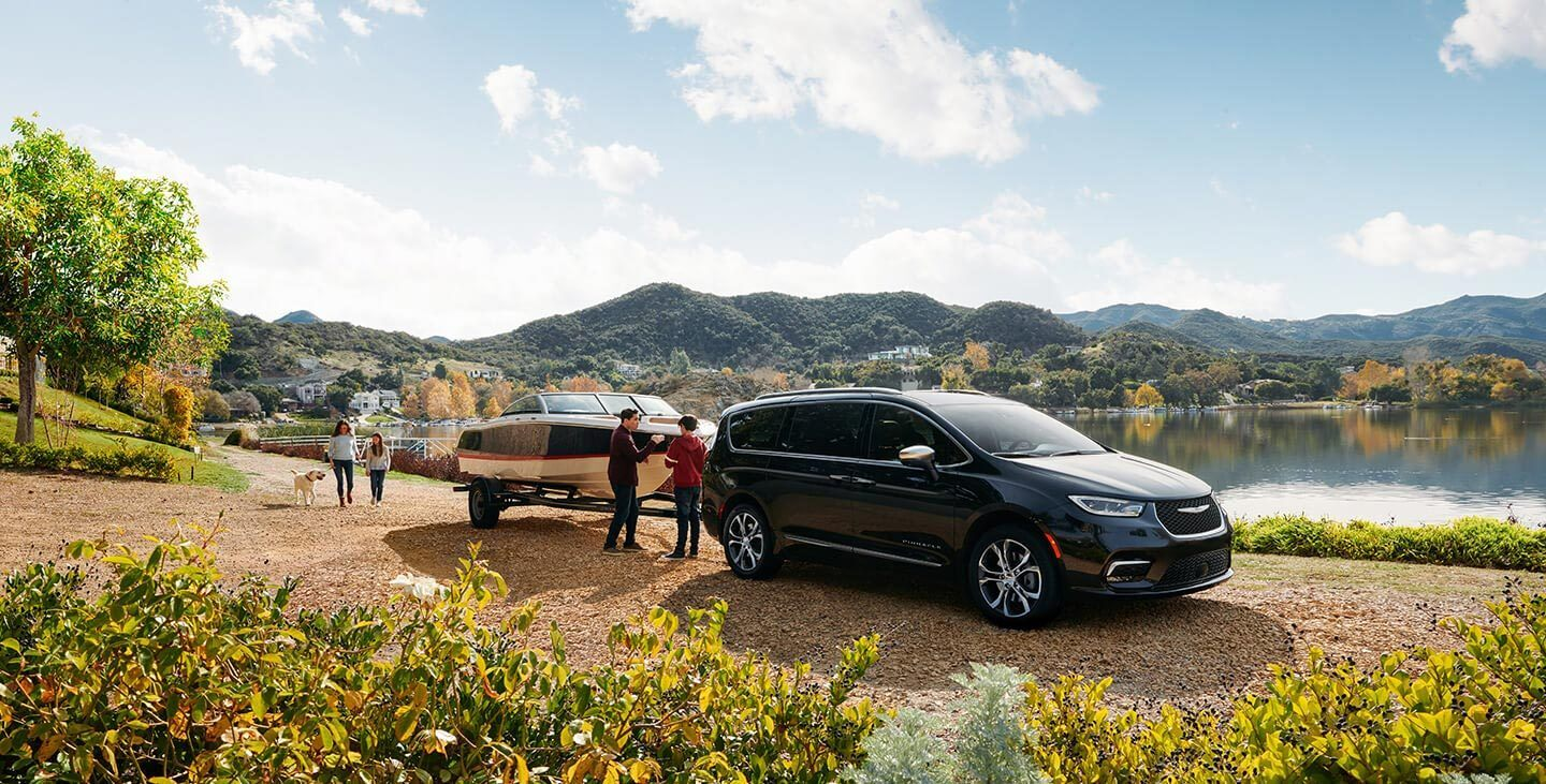 2021 Chrysler Pacifica towing a boat
