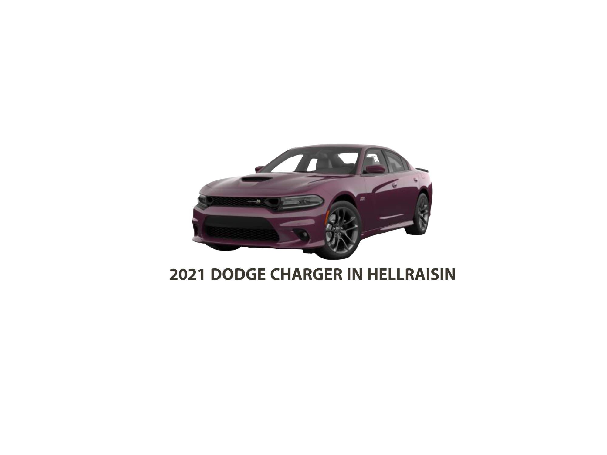 3/4 Front View of Dodge Charger in Hellraisin