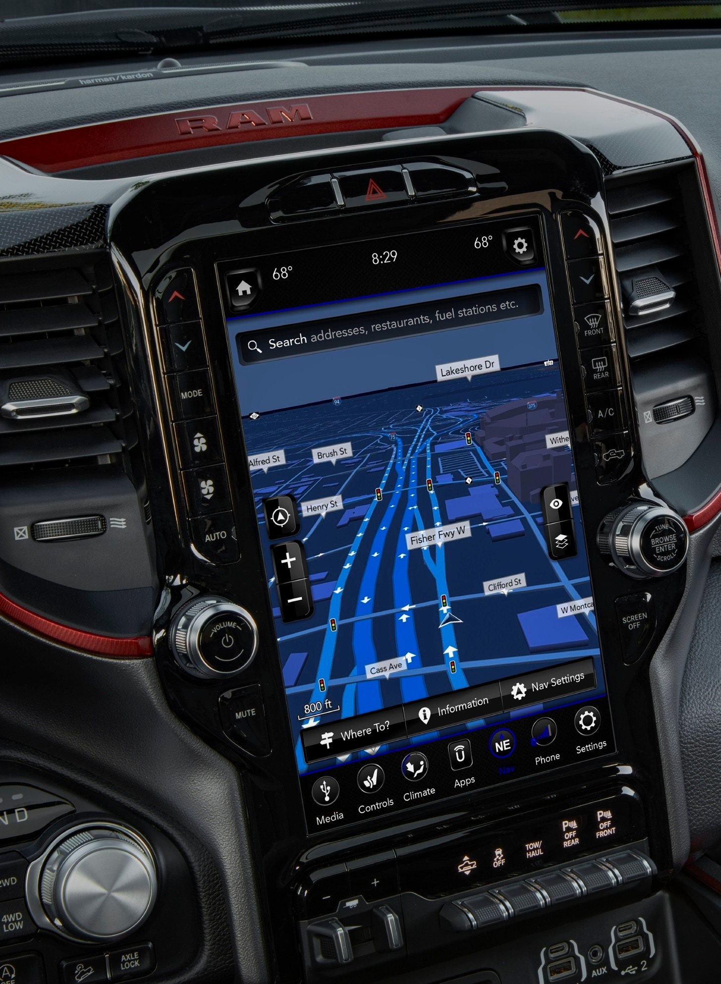 "Close up of 12"" Navigation Screen in Ram truck"