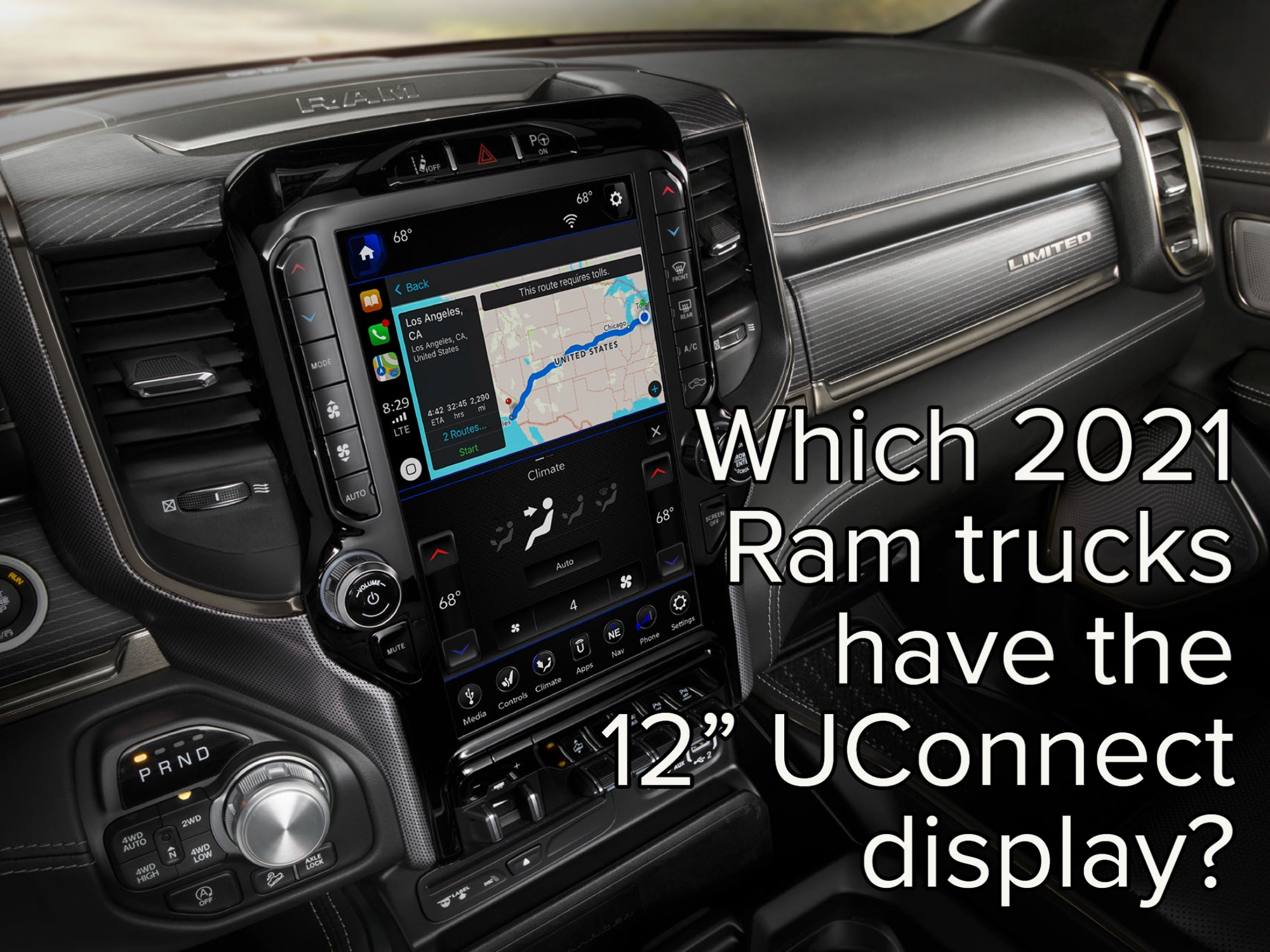Close-up of Ram truck's 12-inch UConnect touch display