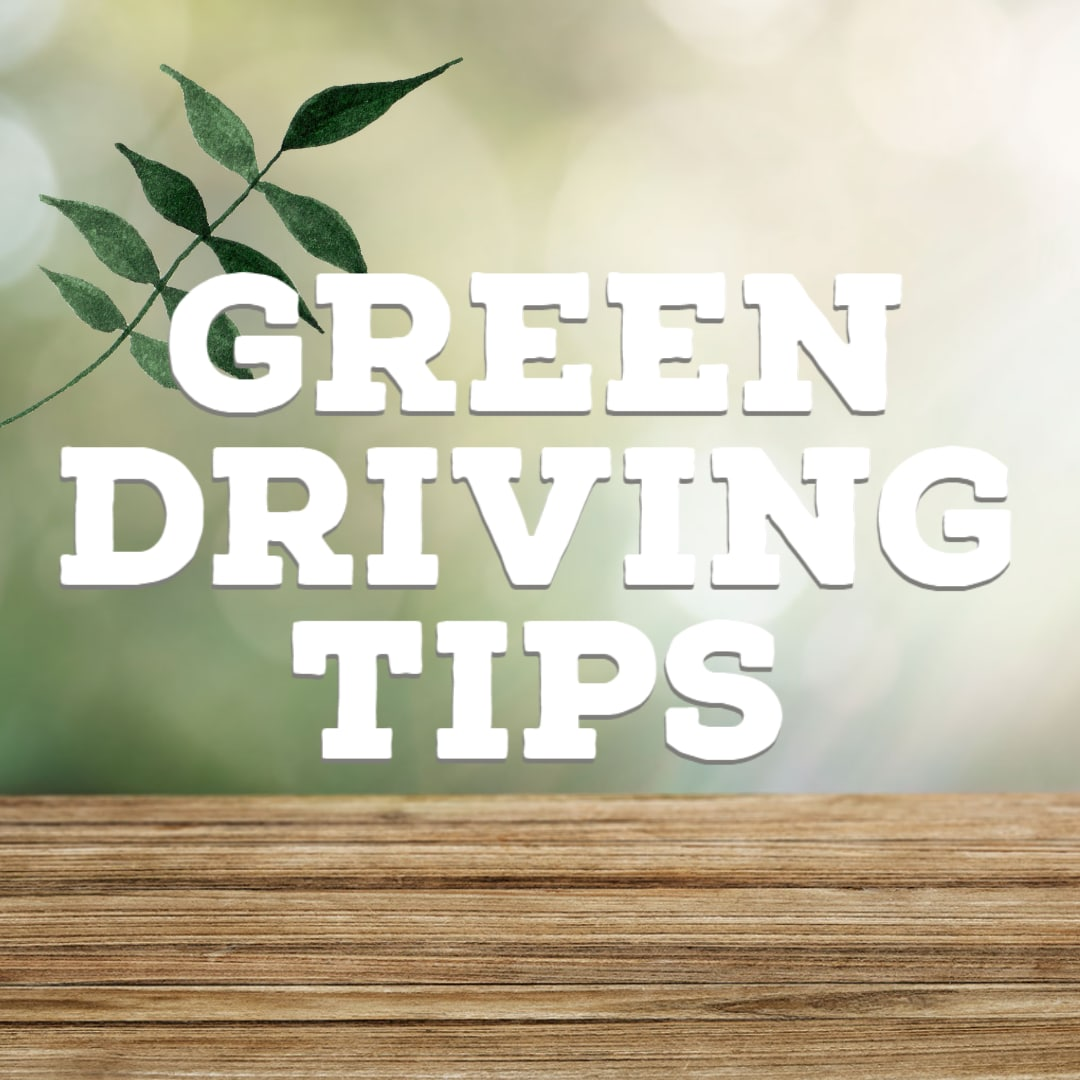 """Light Green bokeh background with woodgrain in front and """"Green Driving Tips"""""""
