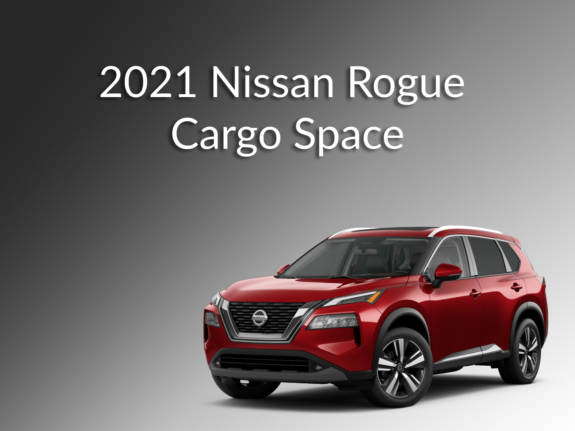Red Nissan Rogue Front 3/4 View with gradient black and white background