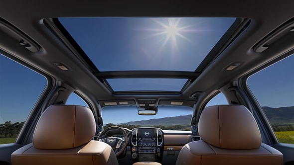 New 2020 Nissan Titan interior with panoramic moonroof