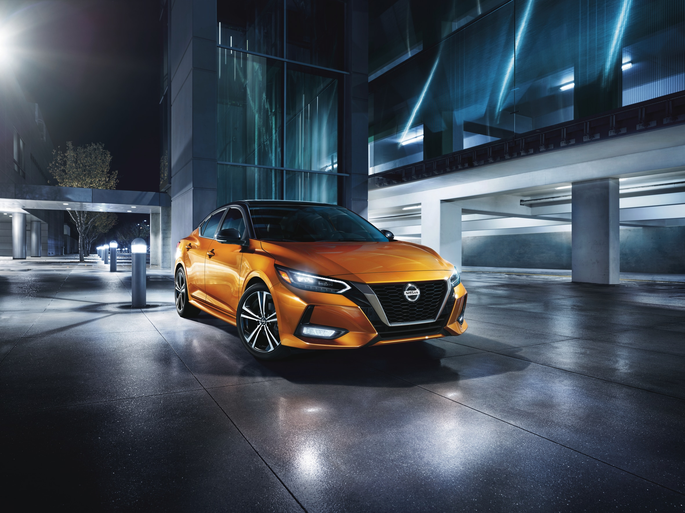 3/4 View 2021 Nissan Sentra Monarch Orange and Black
