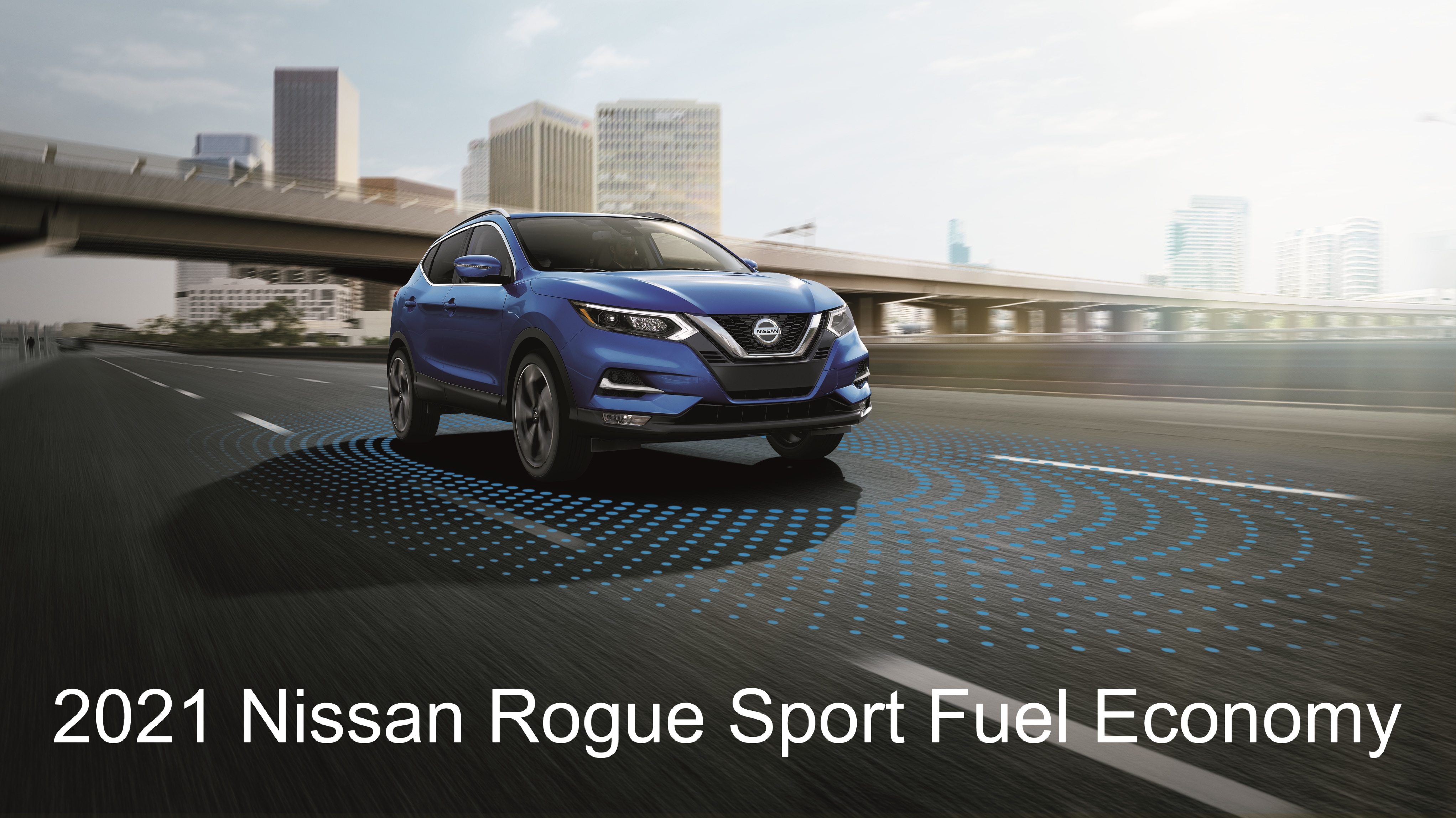 Front 3/4 View of Blue Nissan Rogue Sport