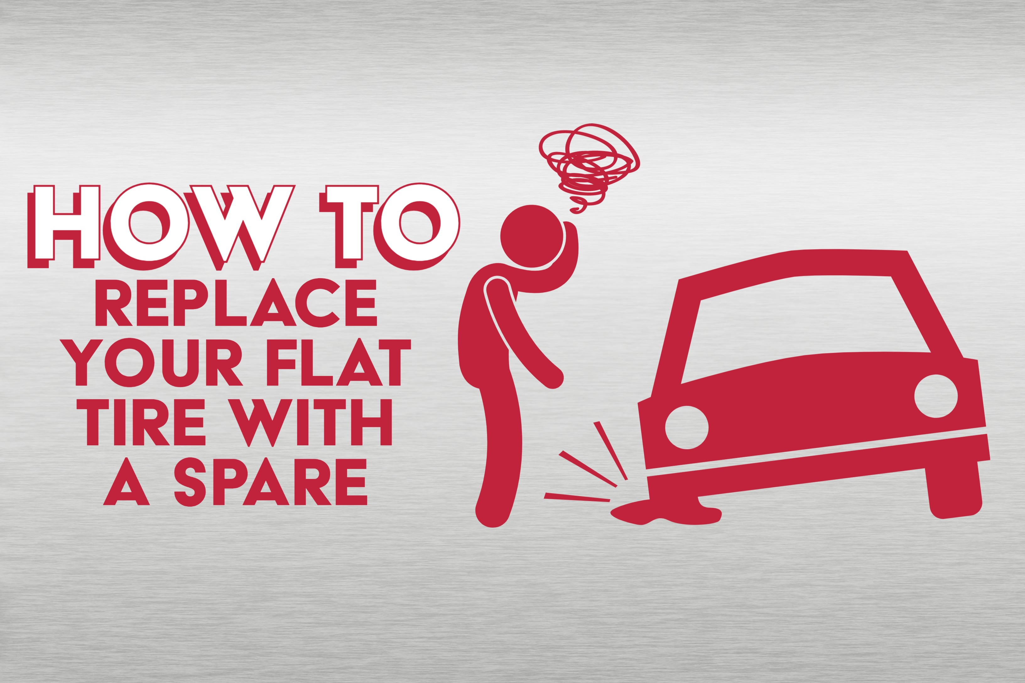 """""""How To Replace Your Flat Tire with A Spare"""" and icon in red with person angry at flat tire"""