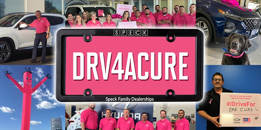 Collage of Speck Dealership employees and customers who support Breast Cancer Awareness