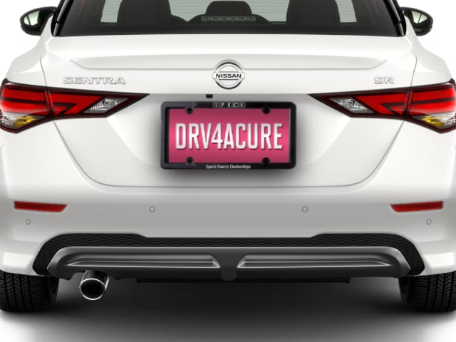 Rear View of New Nissan Sentra with Drive For a Cure Plate