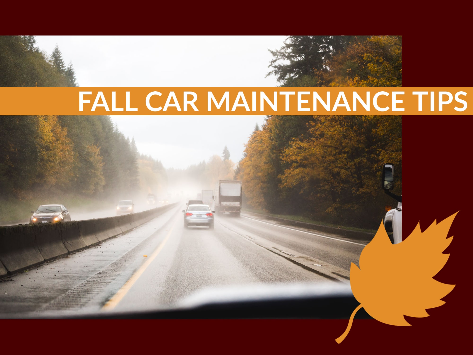 Driver's View of Driving down wet road in Fall season