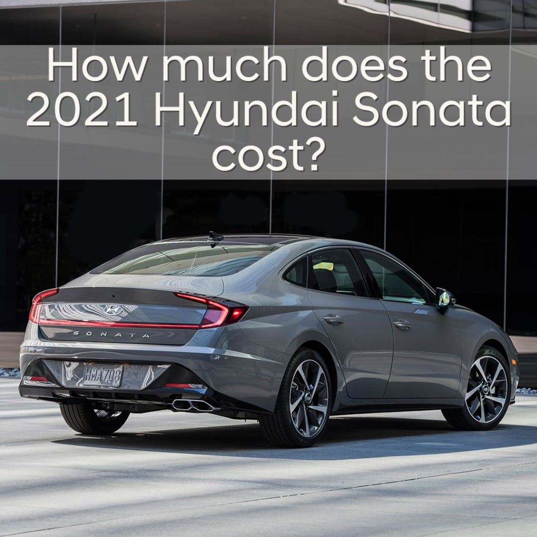 "2021 Hyundai Sonata Rear 3/4 view with ""How much does the 2021 Hyundai Sonata cost?"""