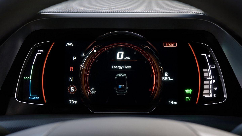 DAshboard view of energy flow on Hyundai Ioniq