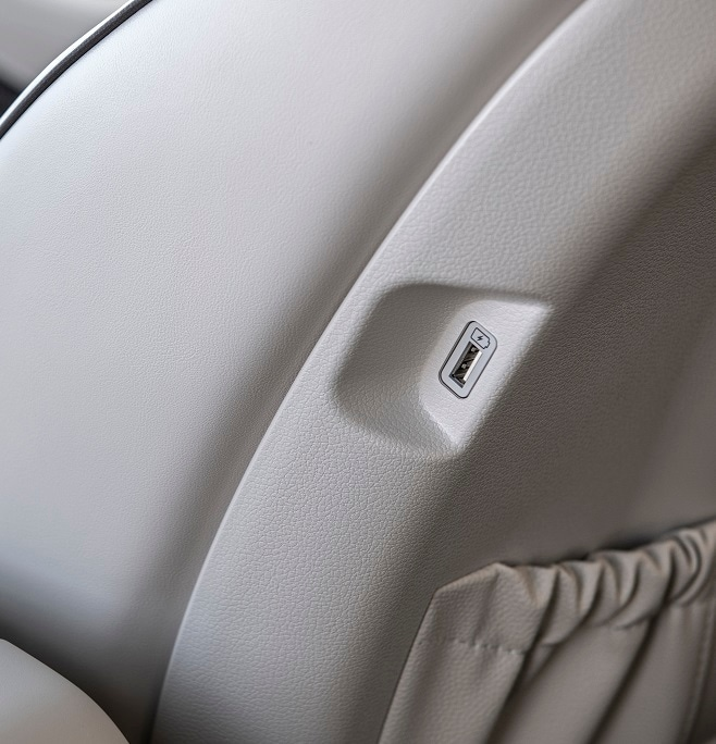 Close-Up of built-in seat USB port