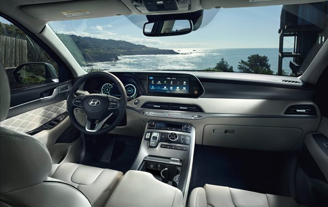 New 2020 Hyundai Palisade with quilted gray leather interior and view of the beach