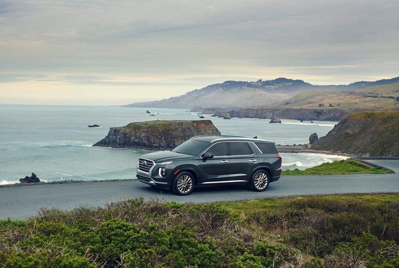 New 2020 Hyundai Palisade driving next to the ocean
