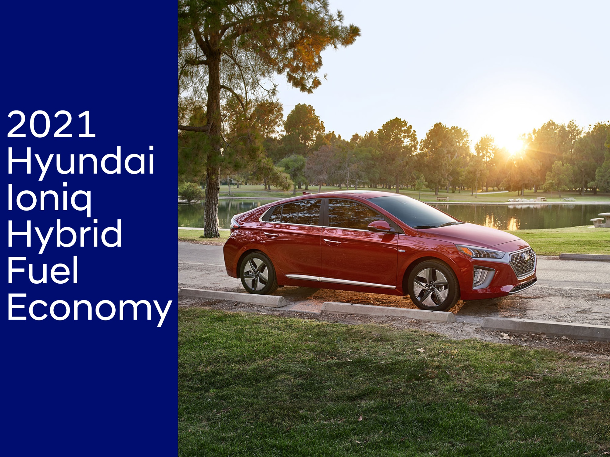 Front 3/4 view of new Hyundai Ioniq Hybrid