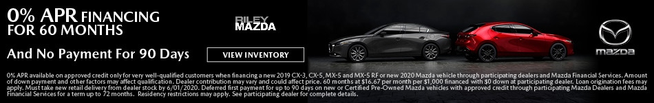 0% APR Financing for 60 Months On Select New Mazda Models