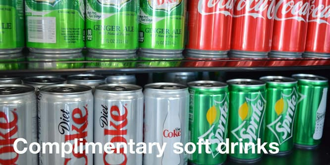 complimentary soft drinks