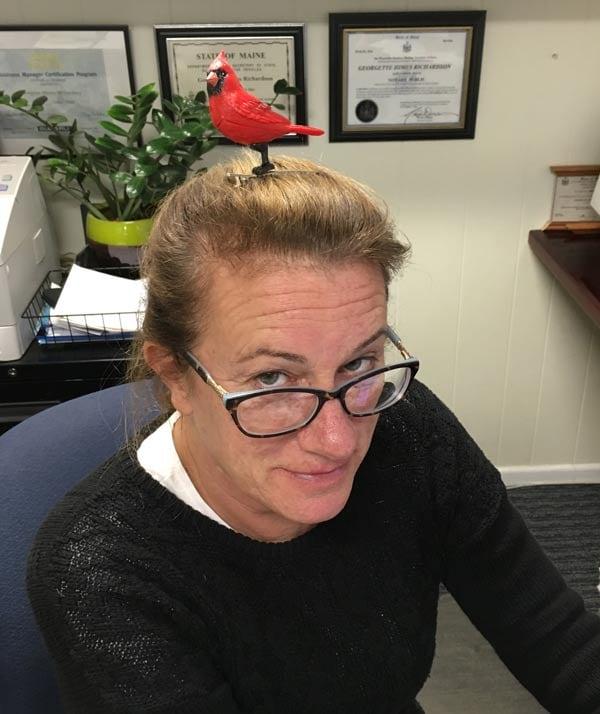 Geddy with a northern cardinal hair clip