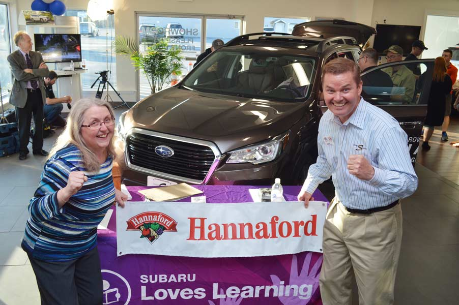 Stanley Subaru and Hannaford teamed up to help teachers with hundred-dollar gift cards to every teacher at Ellsworth Elementary-Middle School