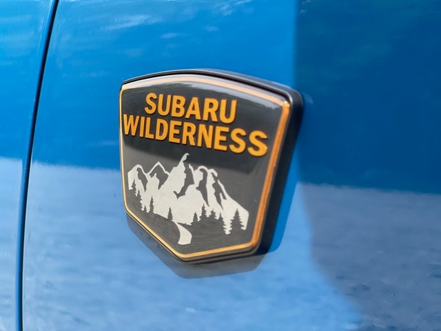 Close up of the Subaru Wilderness badge