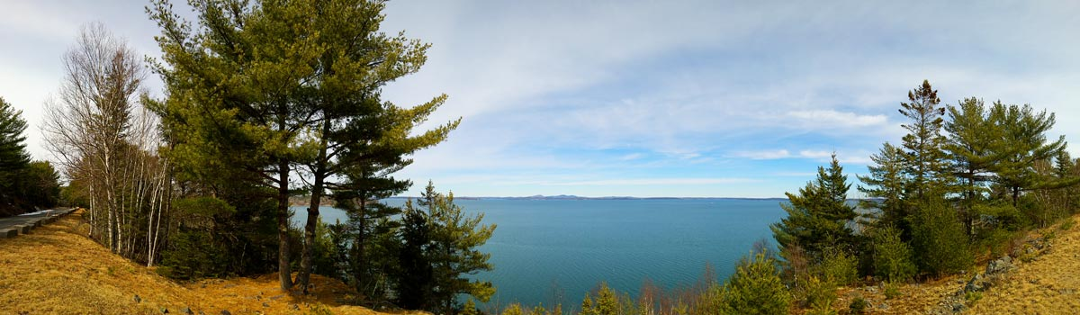 panoramic of Acadia National Park and the ocean