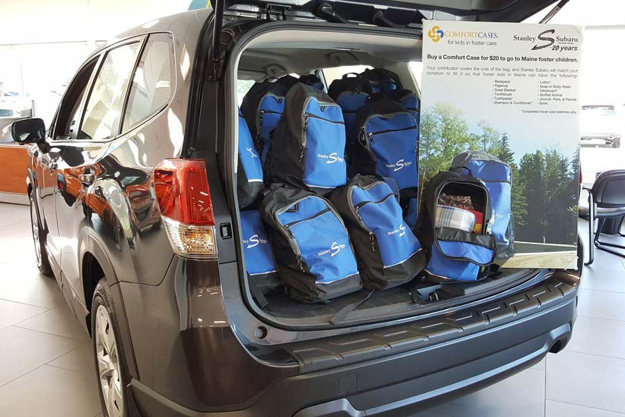 Forester full of backpacks