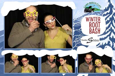 Photo booth at the Winter Boot Bash at Camp Beech Cliff for the Acadia Centennial