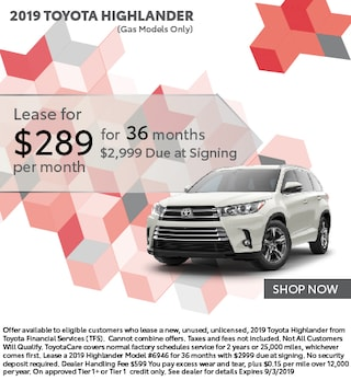 Lease $289 for 36 months with $2999 due at signing