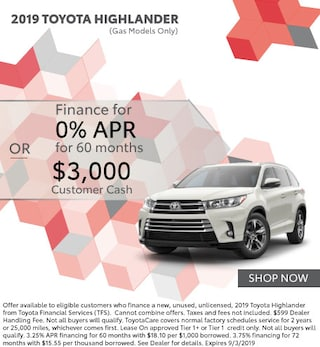 0.0% APR for 60 Months OR $3,000 Customer Cash