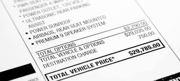Car price sticker