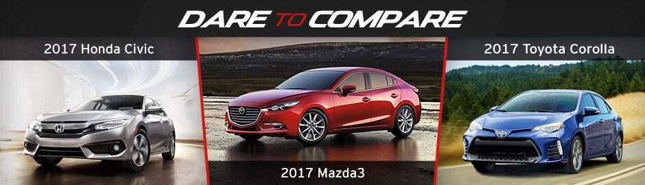 Dare To Compare: Mazda 3 Vs. Honda Civic Vs. Toyota Corolla