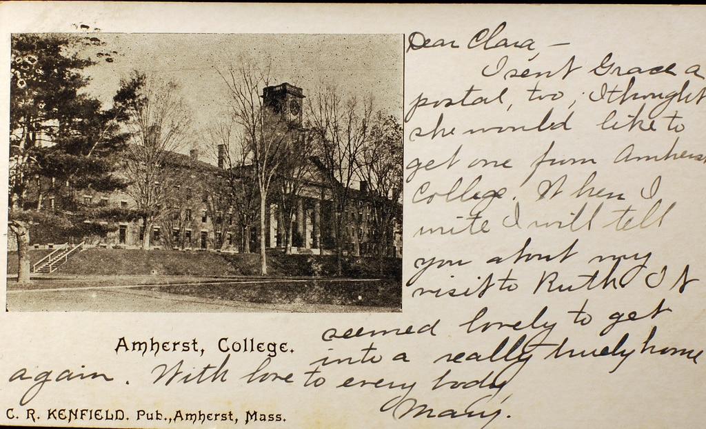 postcard from Amherst College from 1900