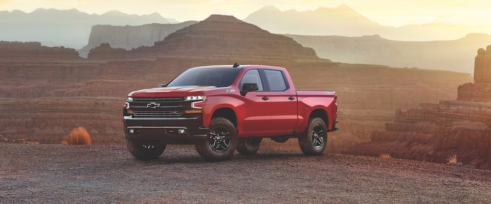 A Red 2019 Chevrolet Silverado in a desert