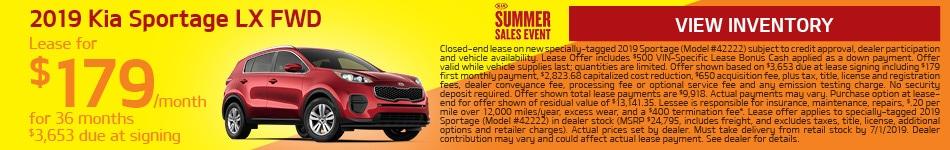 2019 Kia Sportage - June Offer