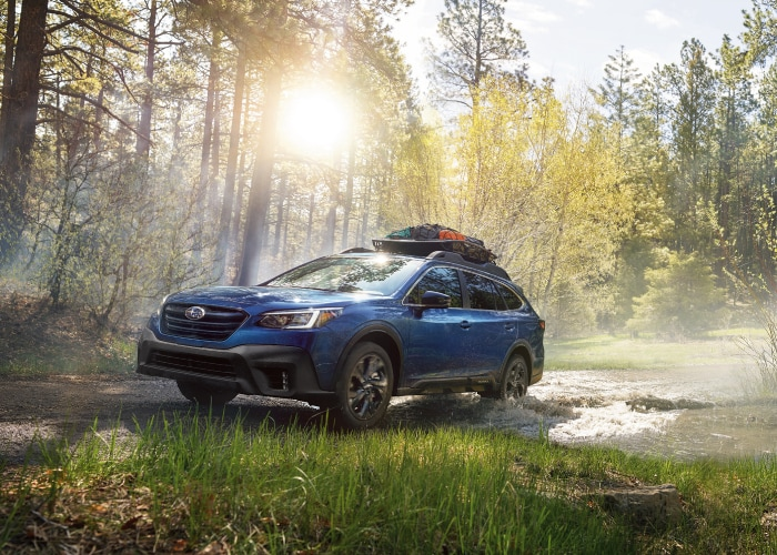 Subaru Outback driving through the forest