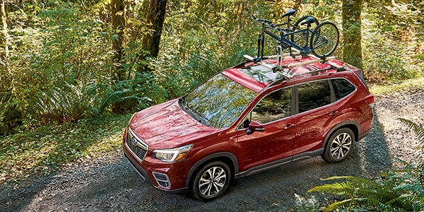New Subaru Forester with a bike rack
