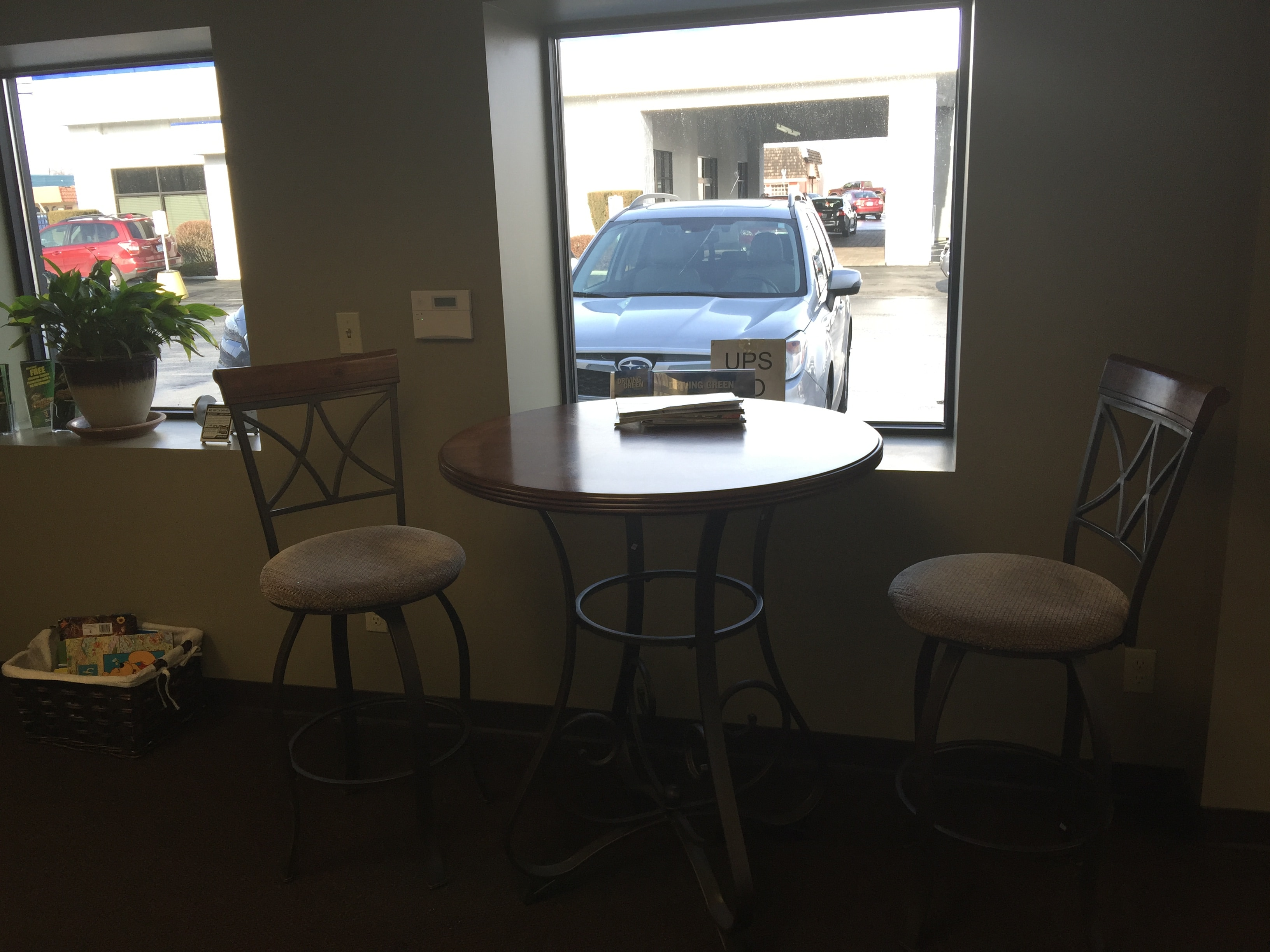 Stewart Subaru service lounge table and chairs