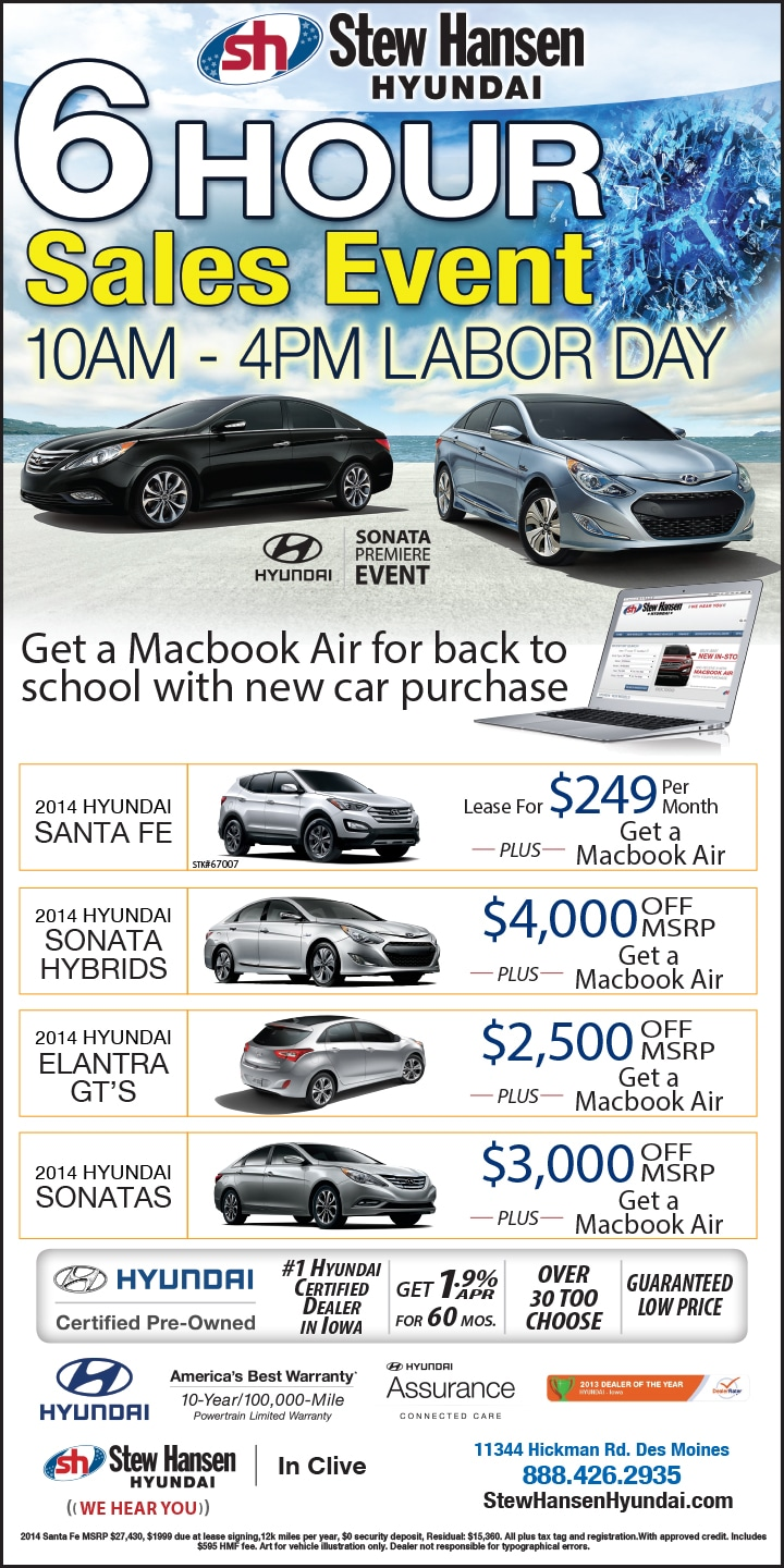 Specials Offers in Des Moines Register | Stew Hansen Hyundai