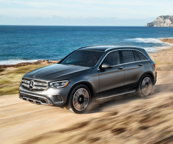 New Mercedes-Benz GLC 300 driving on the sand