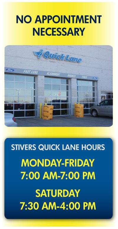 Stivers Ford Lincoln Des Moines Iowa oil and filter changes for all of Iowa in the Quick Lane and online at StiversFordIA.com