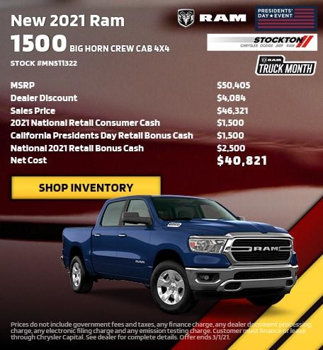February | 2021 Ram 1500 Big Horn Crew Cab 4x4 Stock #MN511322 | MSRP