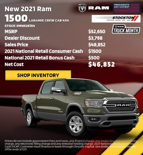 February | 2021 Ram 1500 Laramie Crew Cab 4x4 Stock #MN526154 | MSRP
