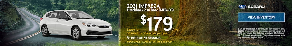 2021 Impreza Hatchback  (MLB-03) - $179 Lease